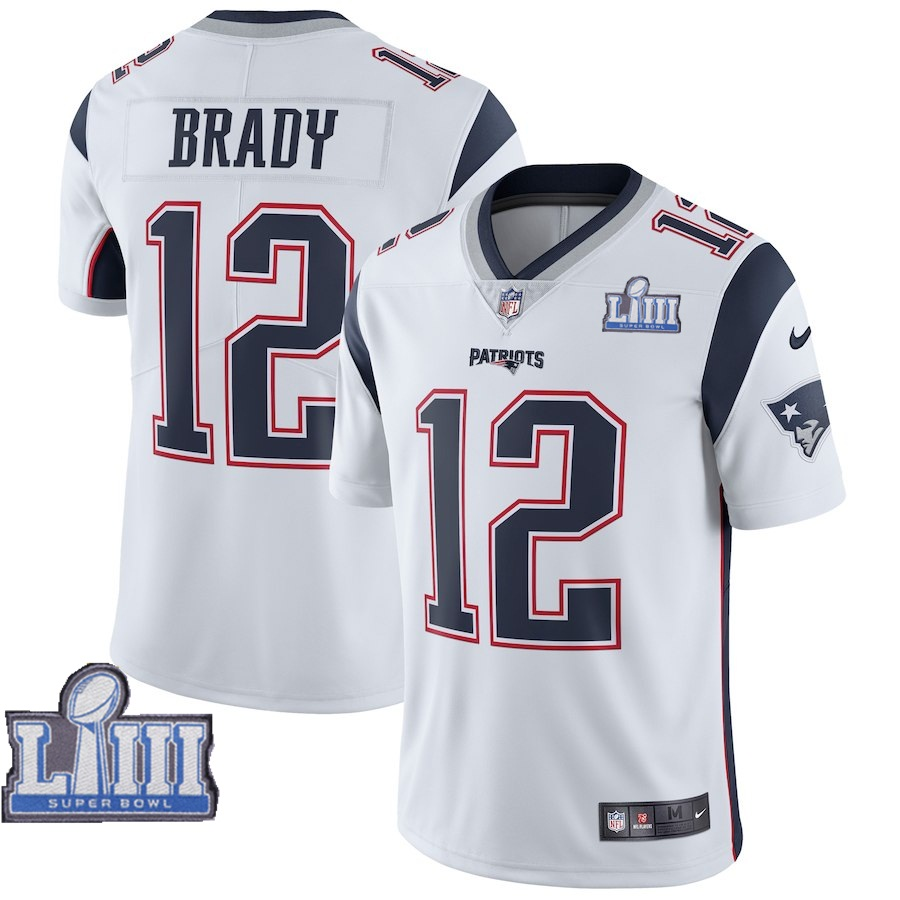 Nike Patriots 12 Tom Brady White Youth 2019 Super Bowl LIII Vapor Untouchable Limited Jersey