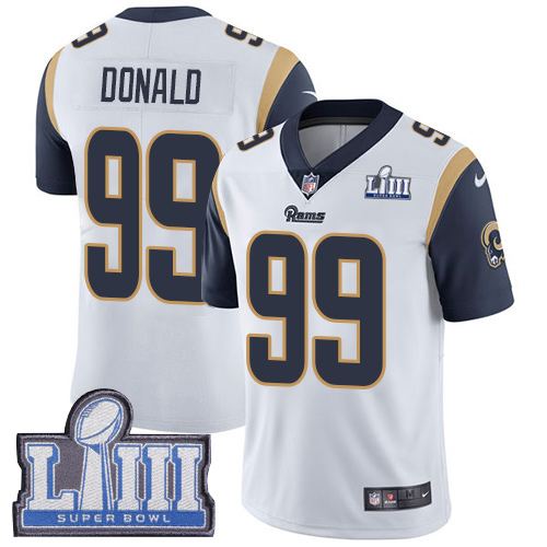 Nike Rams 99 Aaron Donald White Youth 2019 Super Bowl LIII Vapor Untouchable Limited Jersey