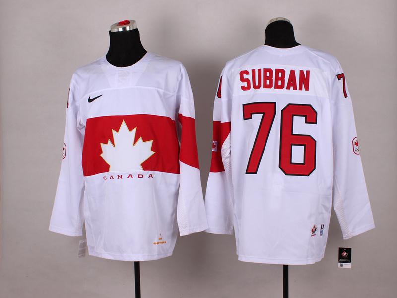 Canada 76 Subban White 2014 Olympics Jerseys
