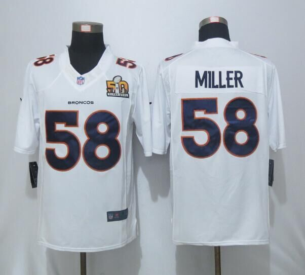 Nike Broncos 58 Von Miller White Super Bowl 50 Bound Game Event Jersey