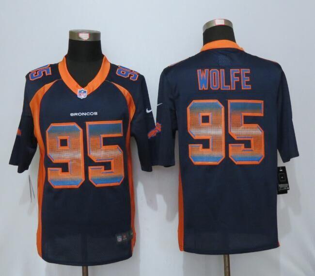 Nike Broncos 95 Derek Wolfe Blue Pro Line Fashion Strobe Jersey