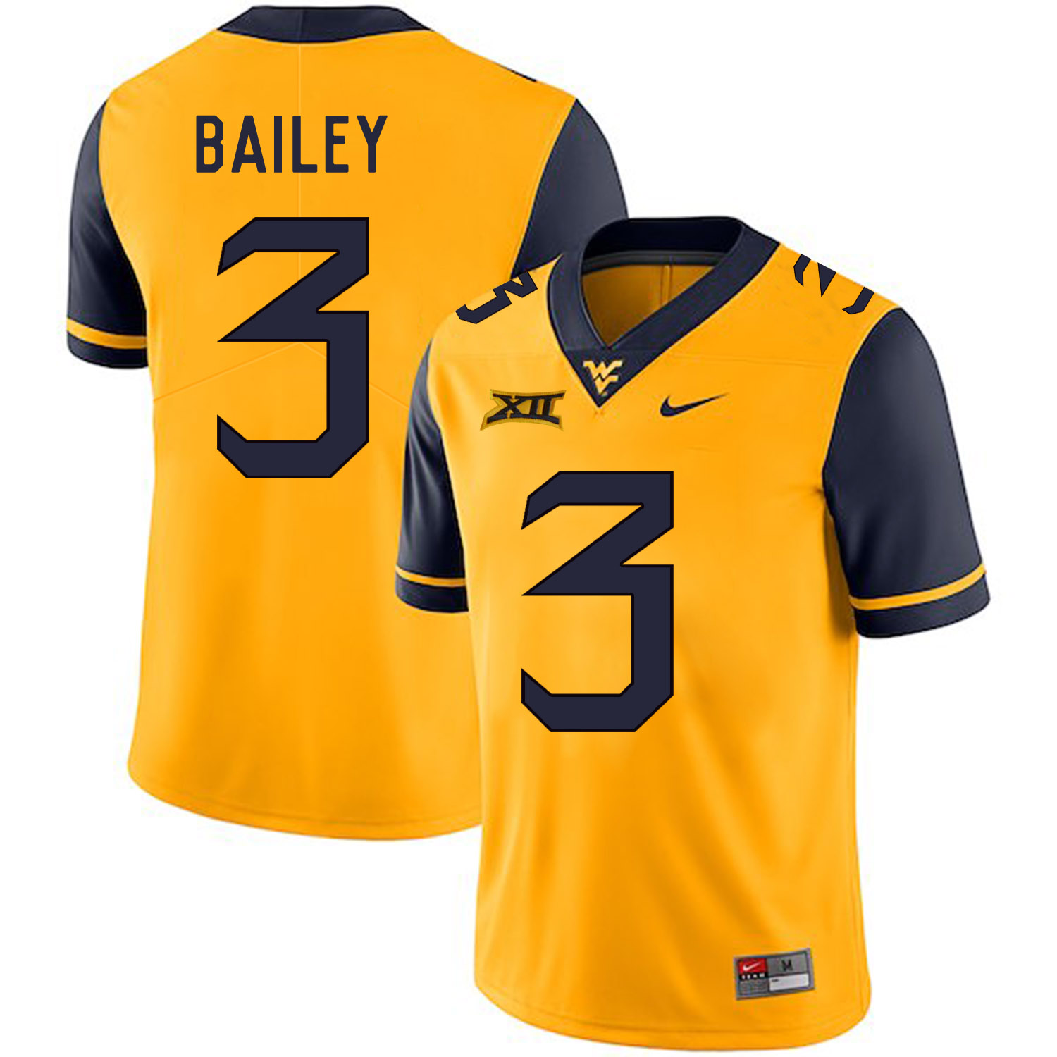 West Virginia Mountaineers 3 Stedman Bailey Gold College Football Jersey