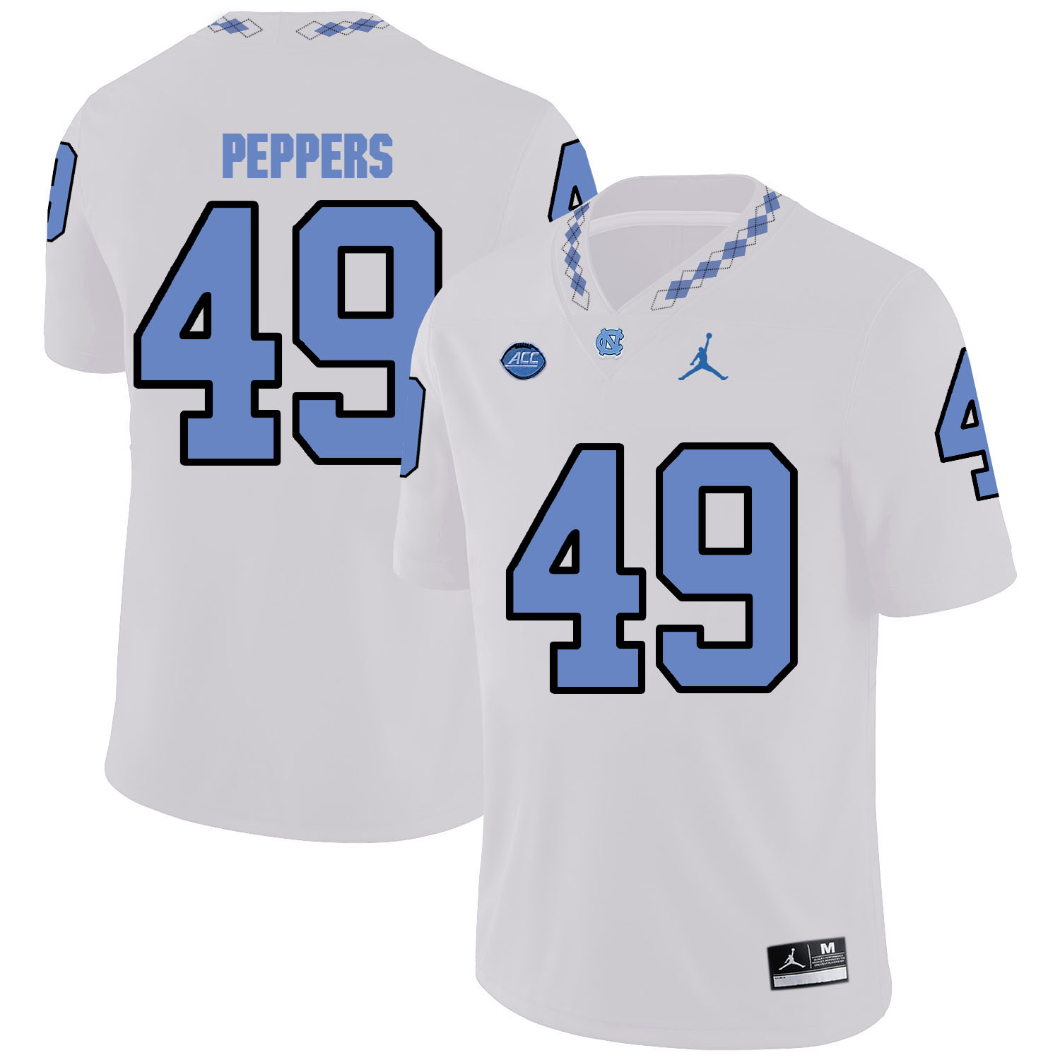 North Carolina Tar Heels 49 White Peppers Blue College Football Jersey