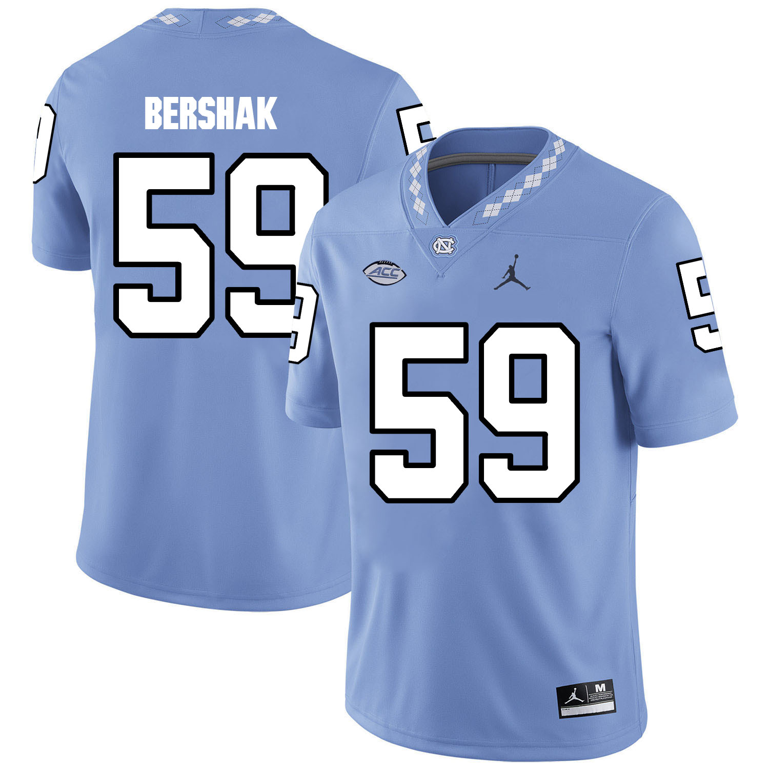 North Carolina Tar Heels 59 Andy Bershak Blue College Football Jersey