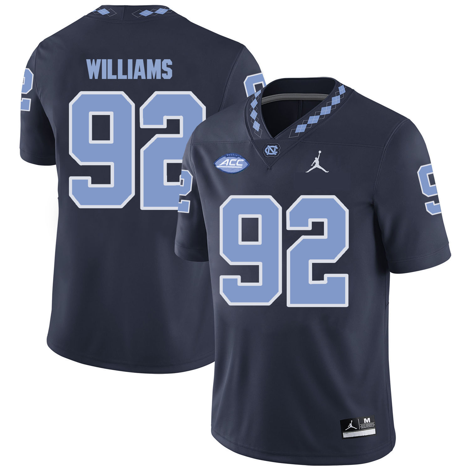 North Carolina Tar Heels 92 Sylvester Williams Black College Football Jersey
