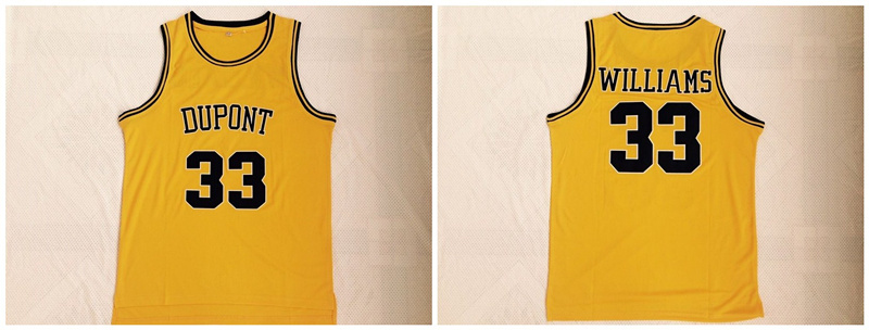 Dupont High School 33 Jason Williams Yellow Basketball Jersey