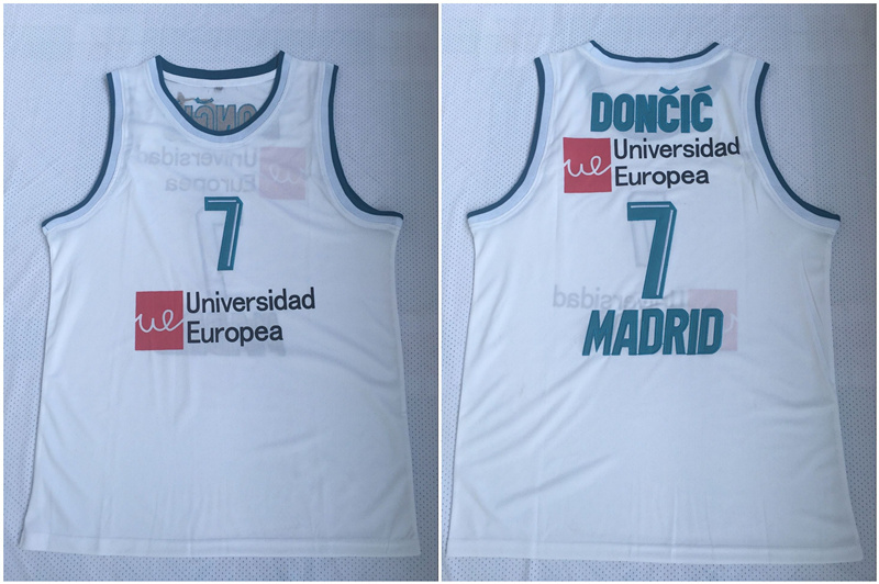 Real Madrid 7 Luka Doncic White Basketball Home Jersey 2017/18
