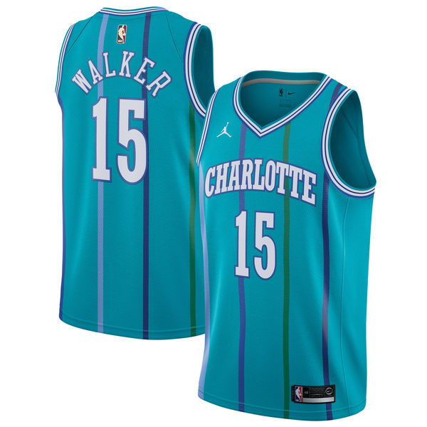 Hornets 15 Kemba Walker Jordan Brand Aqua Fashion Current Player Hardwood Classics Swingman Jersey
