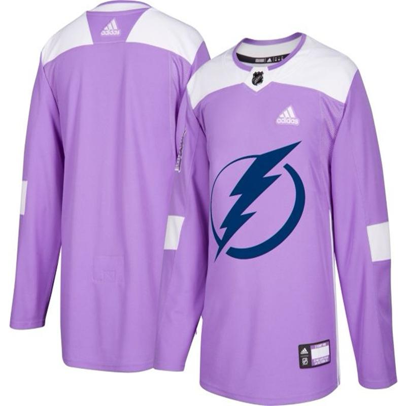 Men's Tampa Bay Lightning Purple Adidas Hockey Fights Cancer Custom Practice Jersey