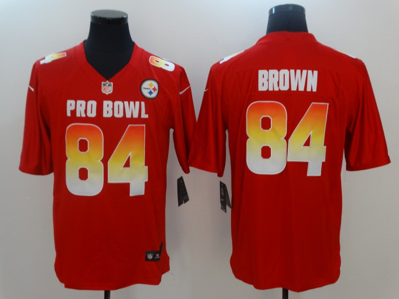 Nike AFC Steelers 84 Antonio Brown Red 2018 Pro Bowl Game Jersey