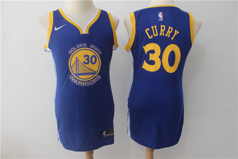 Warriors 30 Stephen Curry Blue Women Nike Swingman Jersey