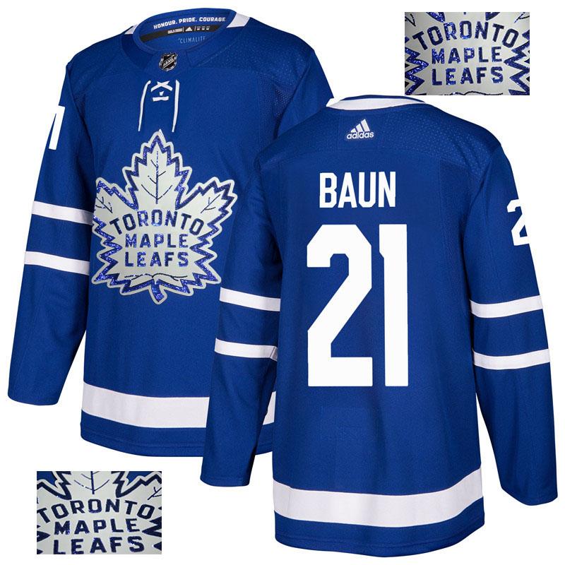 Maple Leafs 21 Bobby Baun Blue Glittery Edition Adidas Jersey