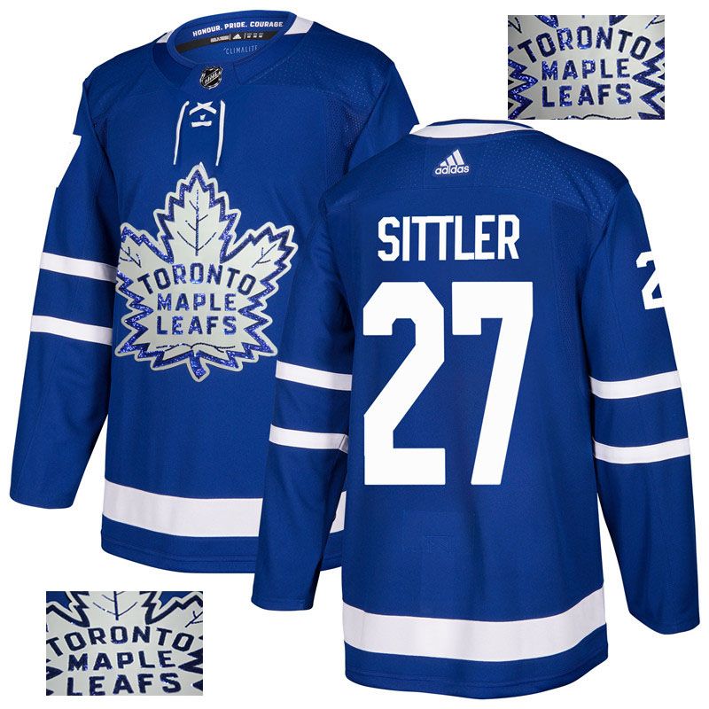 Maple Leafs 27 Darryl Sittler Blue Glittery Edition Adidas Jersey