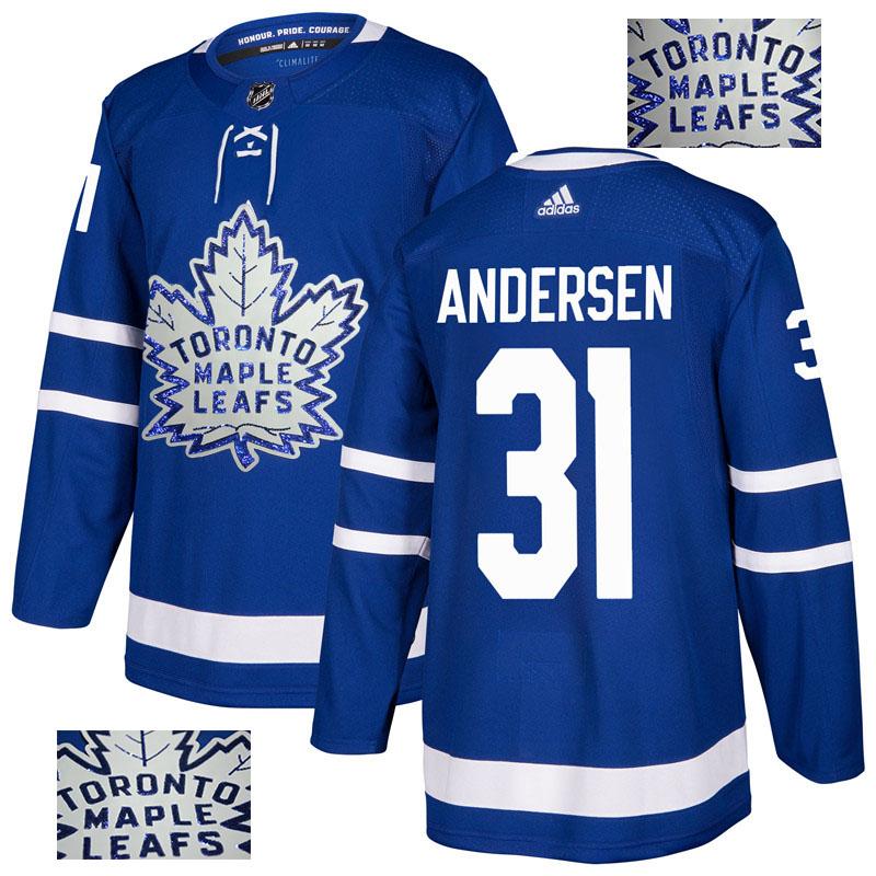 Maple Leafs 31 Frederik Andersen Blue Glittery Edition Adidas Jersey
