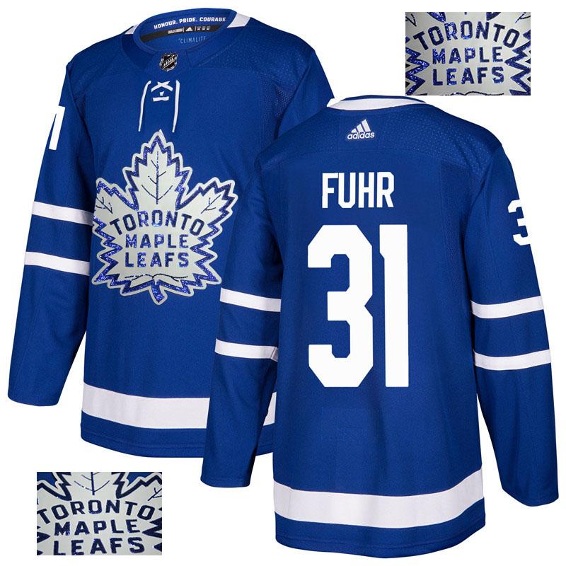 Maple Leafs 31 Grant Fuhr Blue Glittery Edition Adidas Jersey