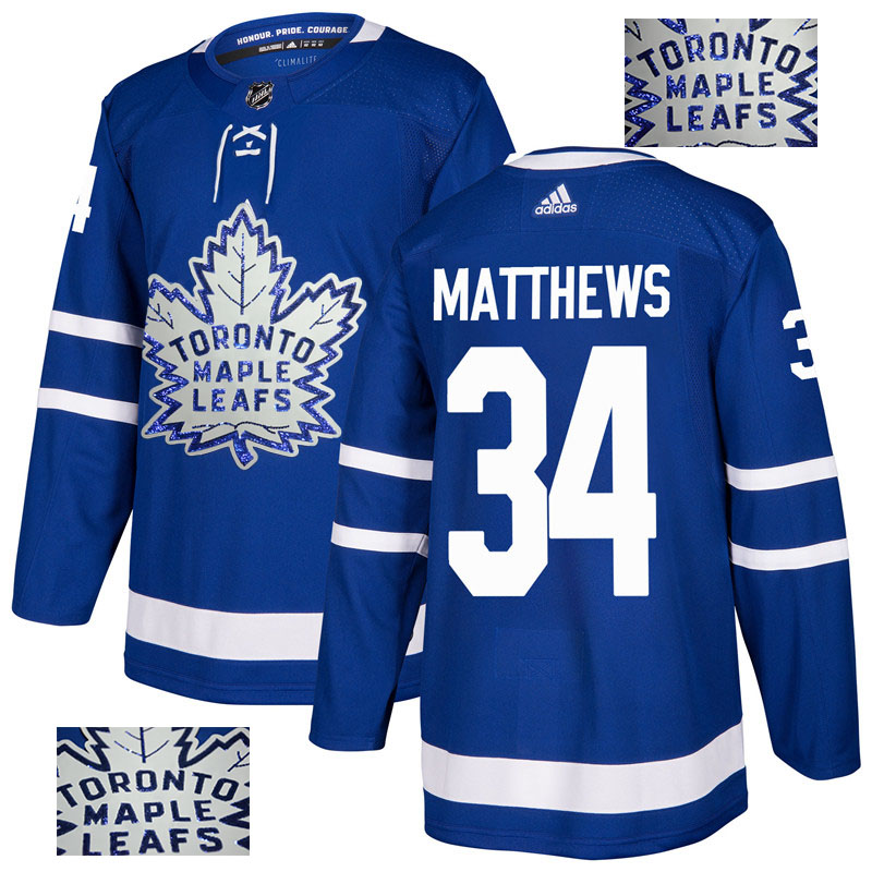 Maple Leafs 34 Auston Matthews Blue Glittery Edition Adidas Jersey
