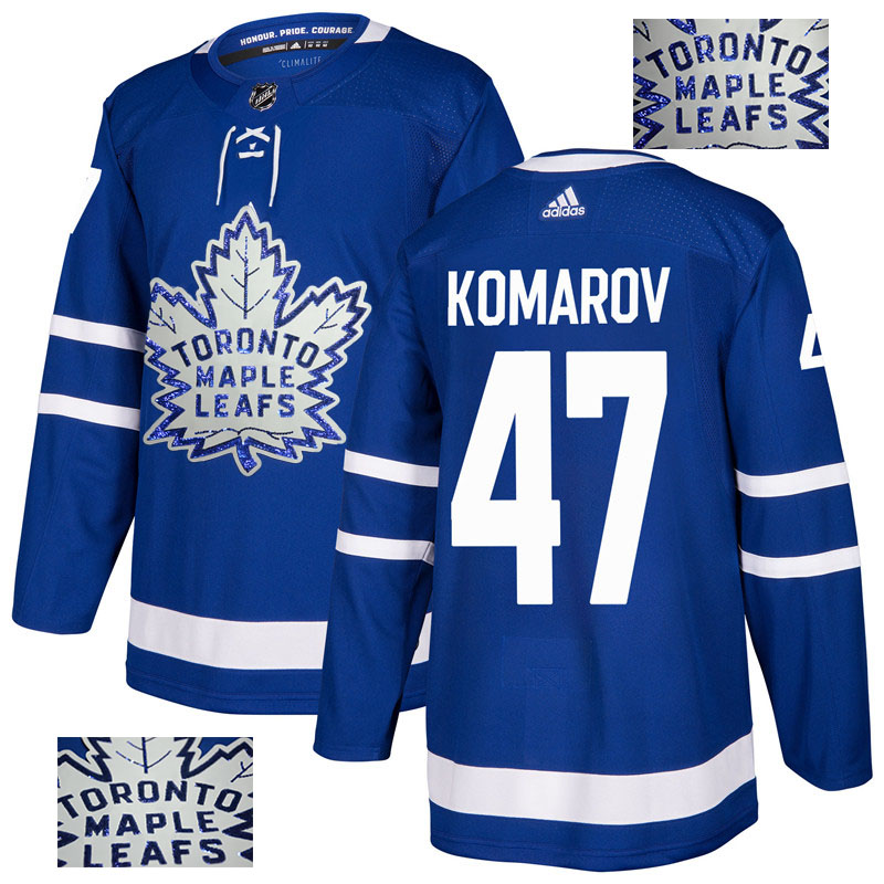 Maple Leafs 47 Leo Komarov Blue Glittery Edition Adidas Jersey
