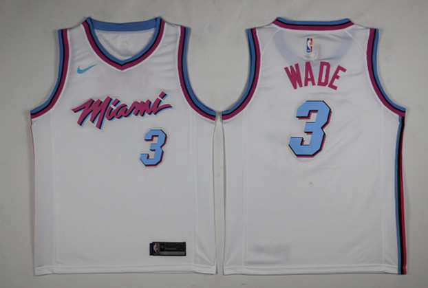 Heat 3 Dwyane Wade White City Edition Nike Swingman Jersey
