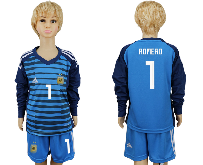 Argentina 1 ROMERO Lake Blue Goalkeeper Youth 2018 FIFA World Cup Long Sleeve Soccer Jersey