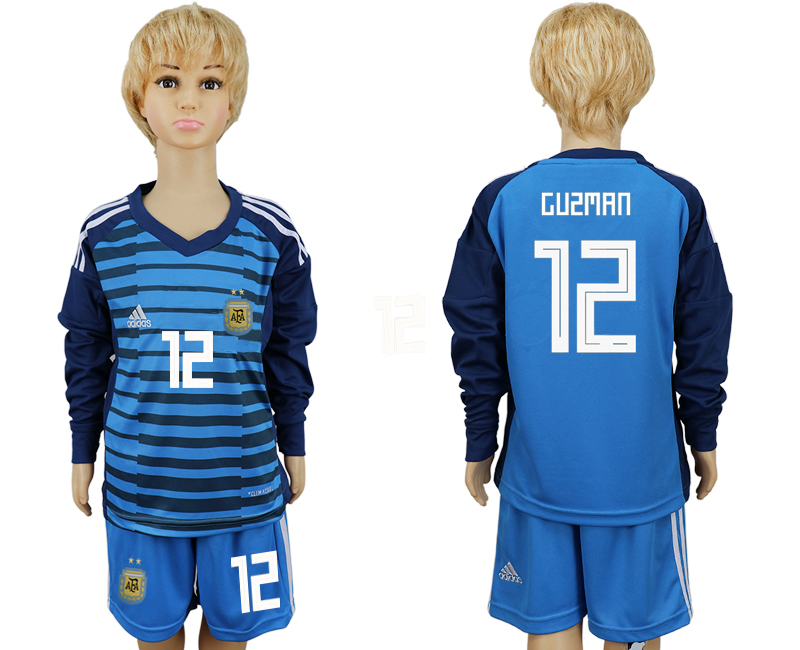 Argentina 12 GUZMAN Lake Blue Goalkeeper Youth 2018 FIFA World Cup Long Sleeve Soccer Jersey