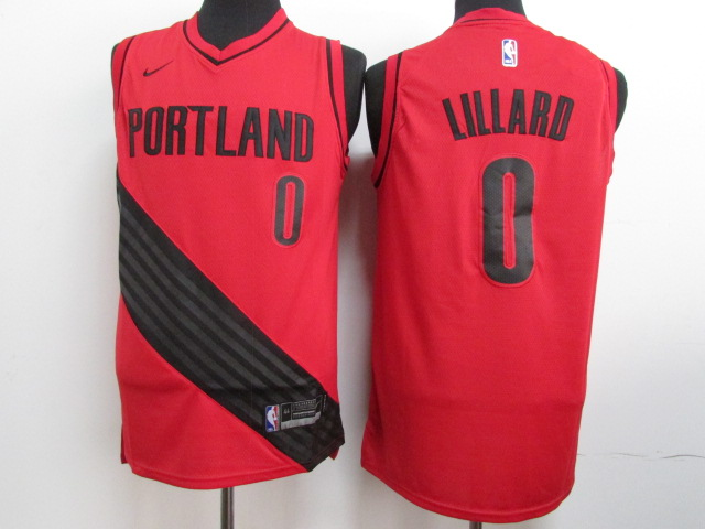 Blazers 0 Damian Lillard Red City Edition Nike Swingman Jersey