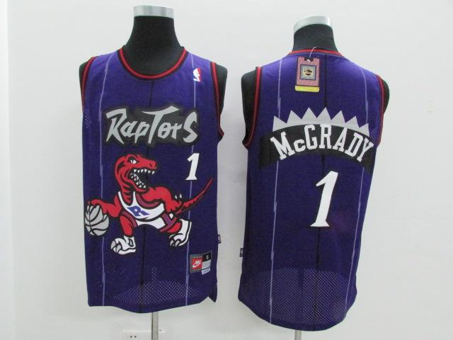 Raptors 1 Tracy McGrady Purple Hardwood Classics Jersey