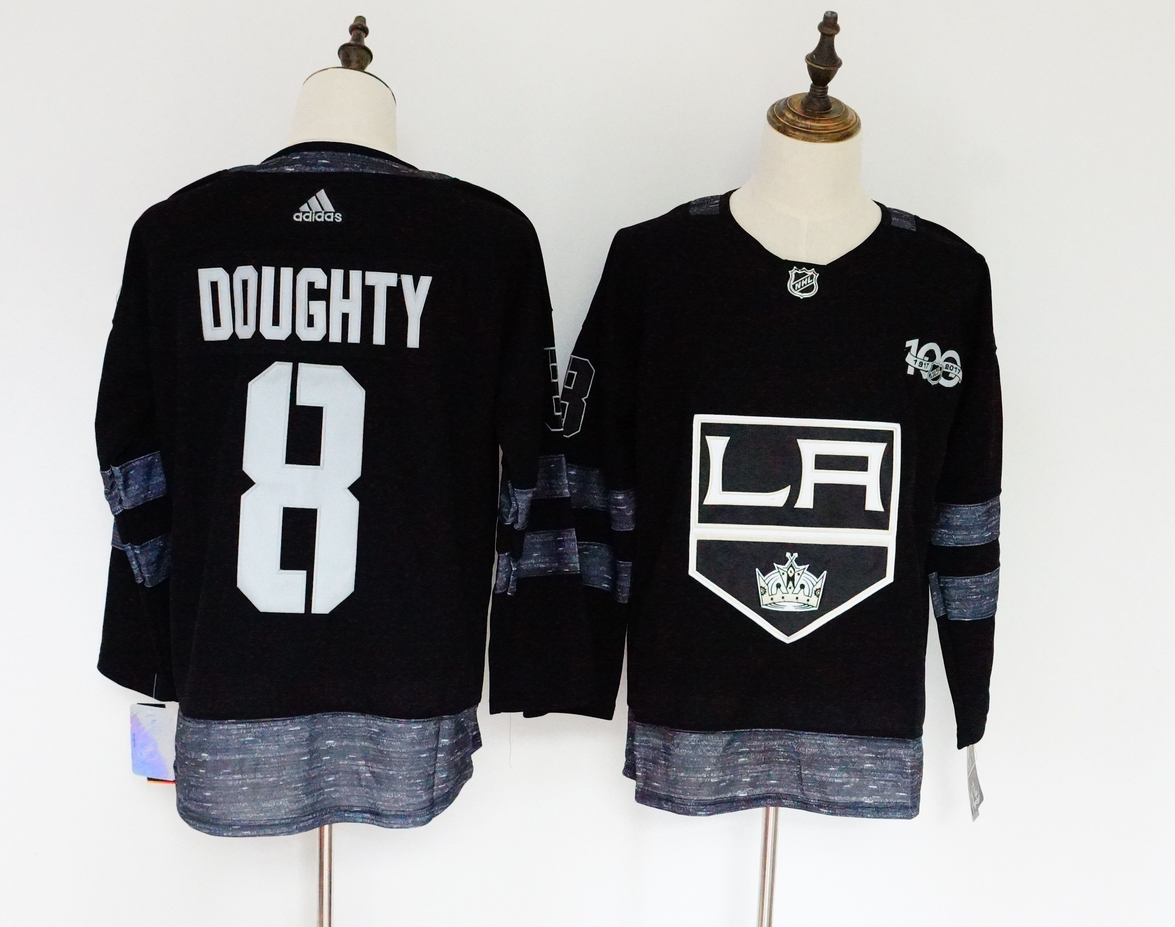 Kings 8 Drew Doughty Black 1917-2017 100th Anniversary Adidas Jersey