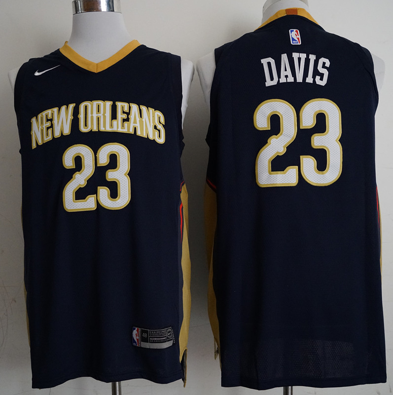 Pelicans 23 Anthony Davis Navy Nike Authentic Jersey