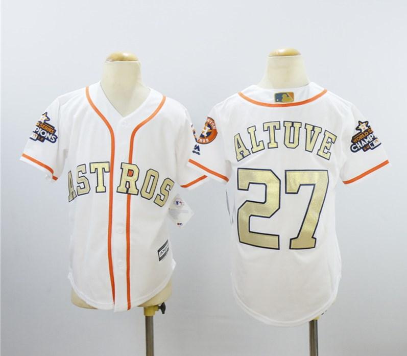 Astros 27 Jose Altuve White Youth 2018 Gold Program Cool Base Jersey