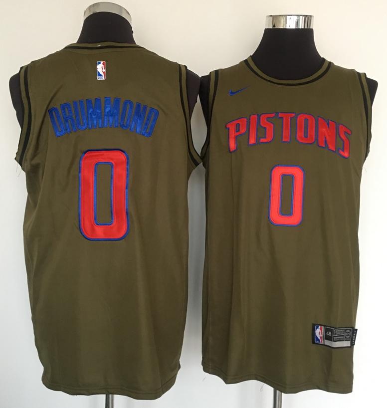 Pistons 0 Andre Drummond Olive Nike Swingman Jersey