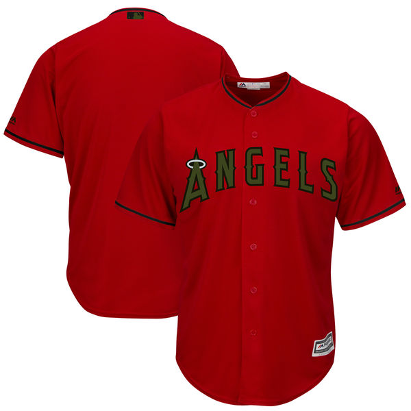Angels Blank Red 2018 Memorial Day Cool Base Jersey