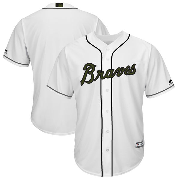 Braves Blank White 2018 Memorial Day Cool Base Jersey