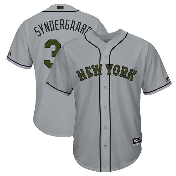 Mets 34 Noah Syndergaard Gray 2018 Memorial Day Cool Base Jersey