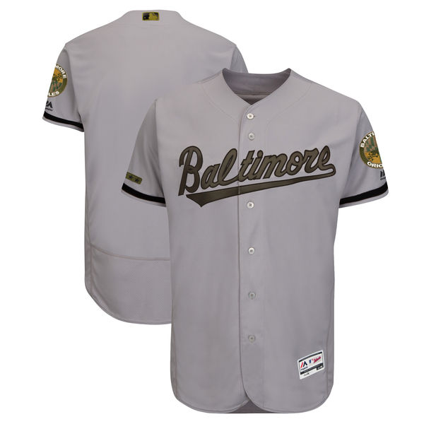 Orioles Blank Gray 2018 Memorial Day Flexbase Jersey