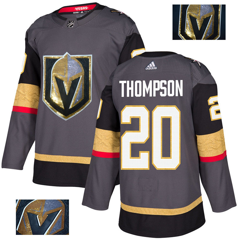 Vegas Golden Knights 20 Paul Thompson Gray With Special Glittery Logo Adidas Jersey