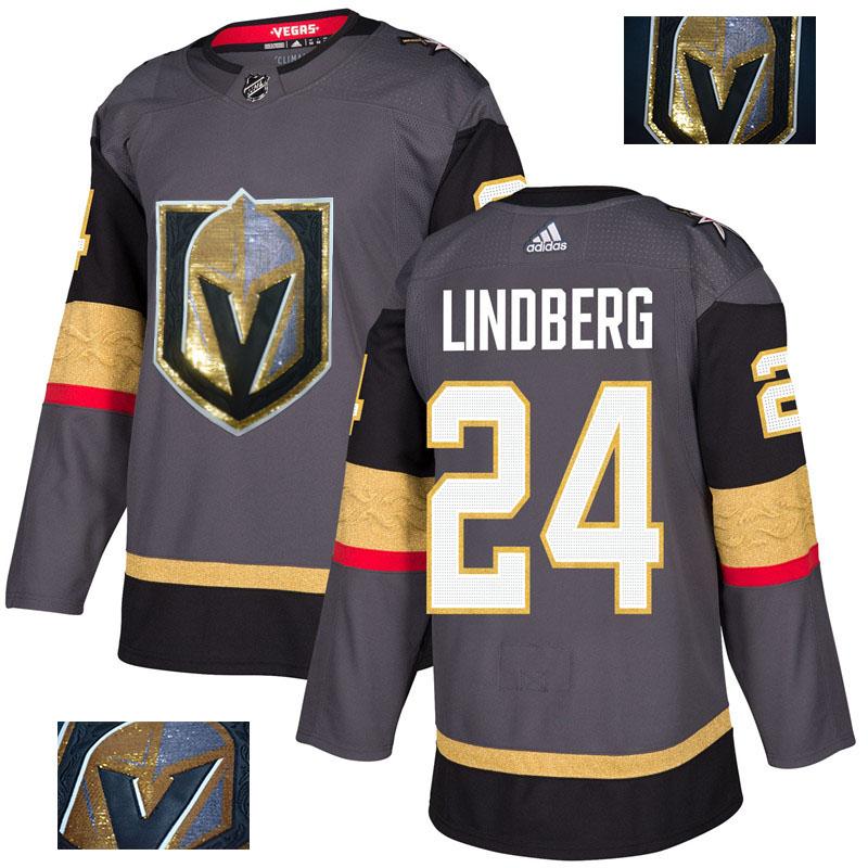 Vegas Golden Knights 24 Oscar Lindberg Gray With Special Glittery Logo Adidas Jersey