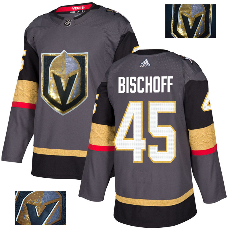 Vegas Golden Knights 45 Jake Bischoff Gray With Special Glittery Logo Adidas Jersey