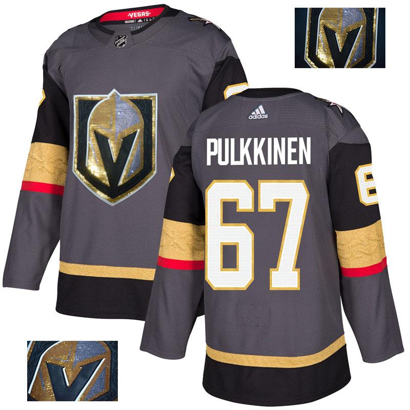 Vegas Golden Knights 67 Teemu Pulkkinen Gray With Special Glittery Logo Adidas Jersey