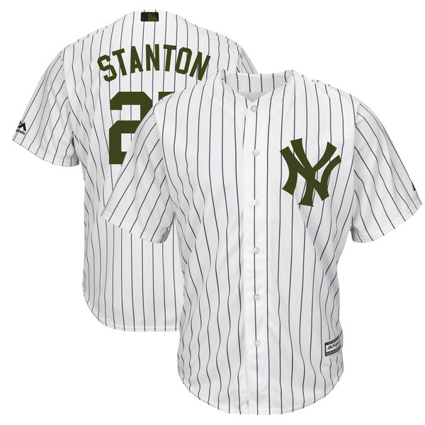 Yankees 27 Giancarlo Stanton White 2018 Memorial Day Cool Base Jersey
