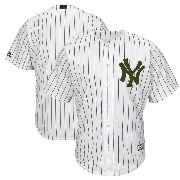 Yankees Blank White 2018 Memorial Day Cool Base Jersey