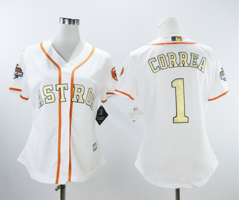 Astros 1 Carlos Correa White Women 2018 Gold Program Cool Base Jersey