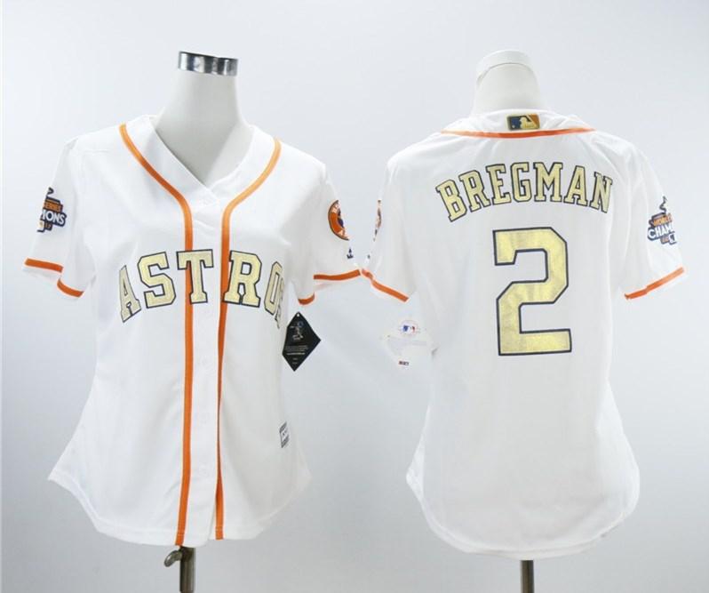 Astros 2 Alex Bregman White Women 2018 Gold Program Cool Base Jersey