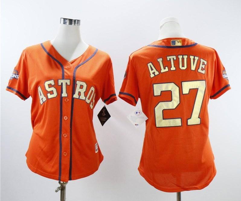 Astros 27 Jose Altuve Orange Women 2018 Gold Program Cool Base Jersey