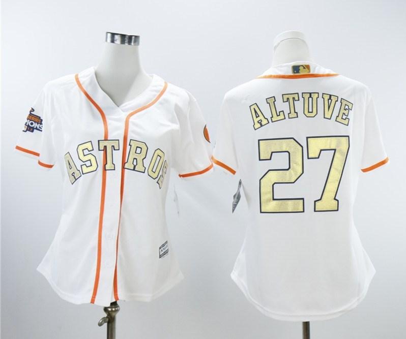 Astros 27 Jose Altuve White Women 2018 Gold Program Cool Base Jersey