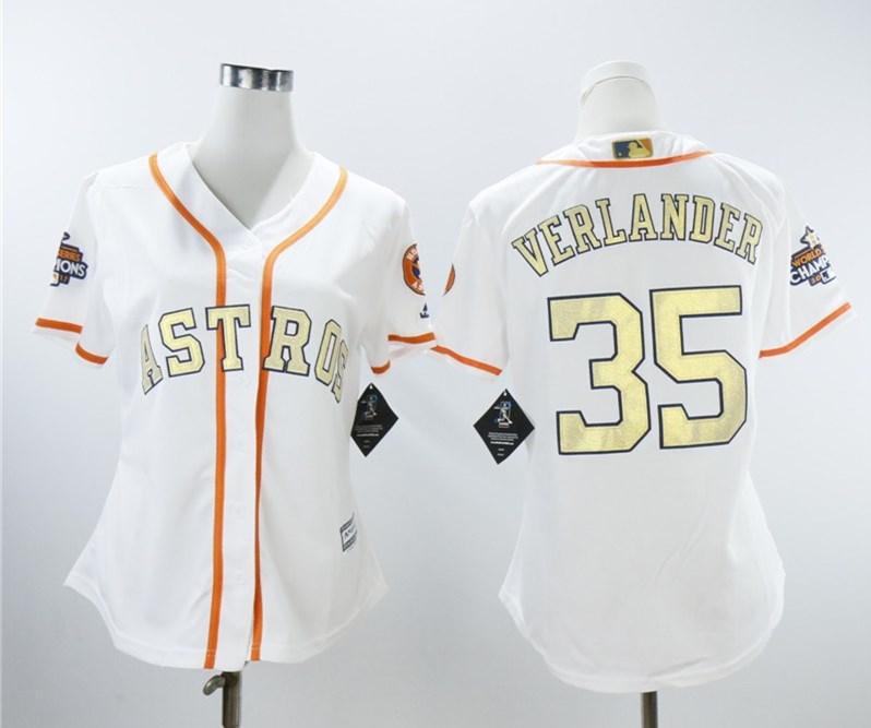 Astros 35 Justin Verlander White Women 2018 Gold Program Cool Base Jersey