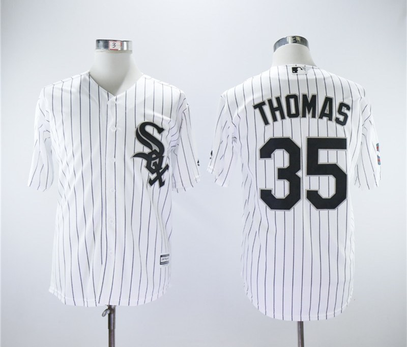 White Sox 35 Frank Thomas White With 2005 World Series Patch Cool Base Jersey