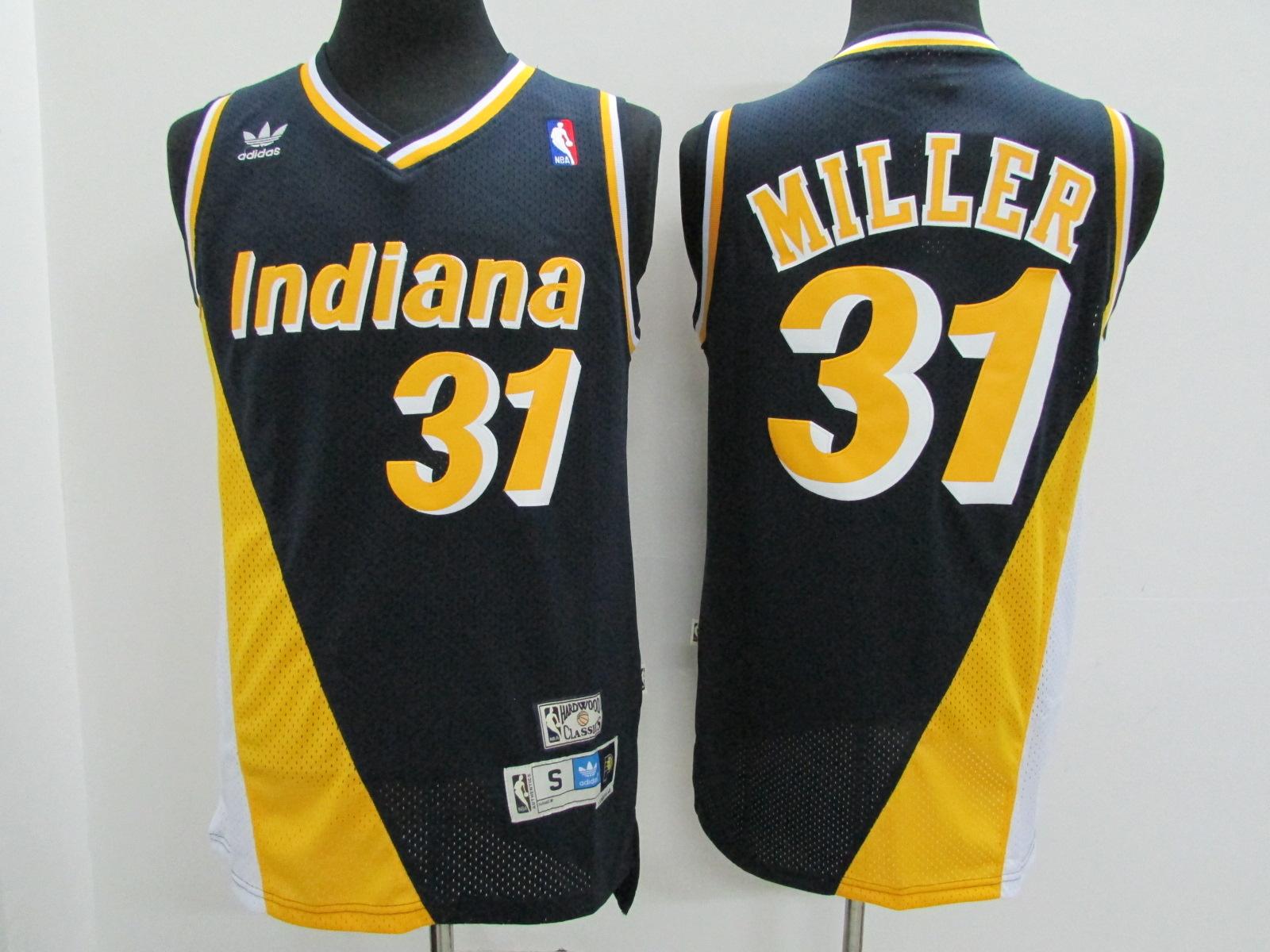Pacers 31 Reggie Miller Navy Hardwood Classics Jersey