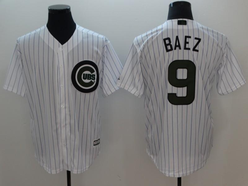 Cubs 9 Javier Baez White 2018 Memorial Day Cool Base Jersey