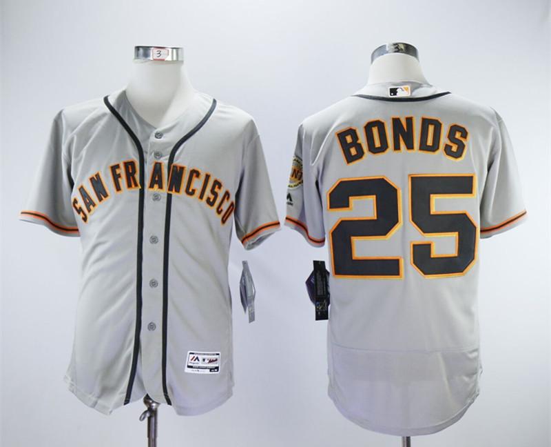 Giants 25 Barry Bonds Gray Flexbase Jersey