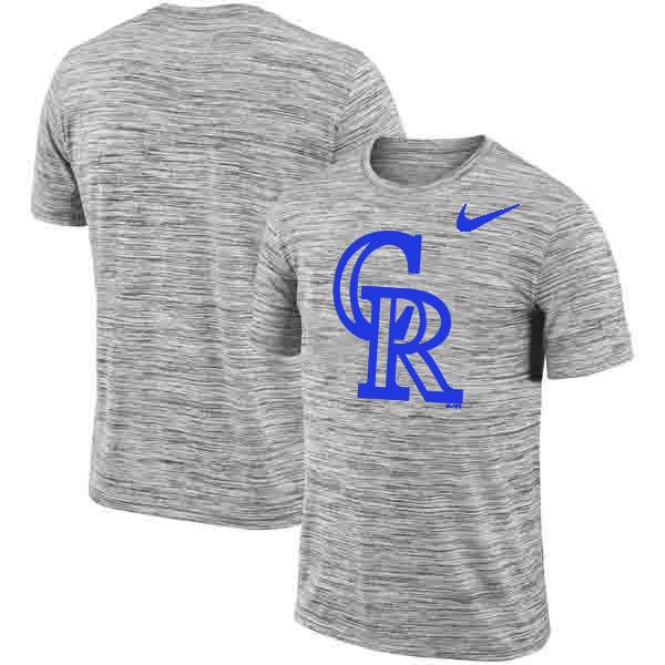 Colorado Rockies Nike Heathered Black Sideline Legend Velocity Travel Performance T-Shirt